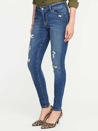 Old Navy Mid-Rise Distressed Rockstar Jeans